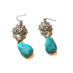 Anthropology turquoise and silver earrings